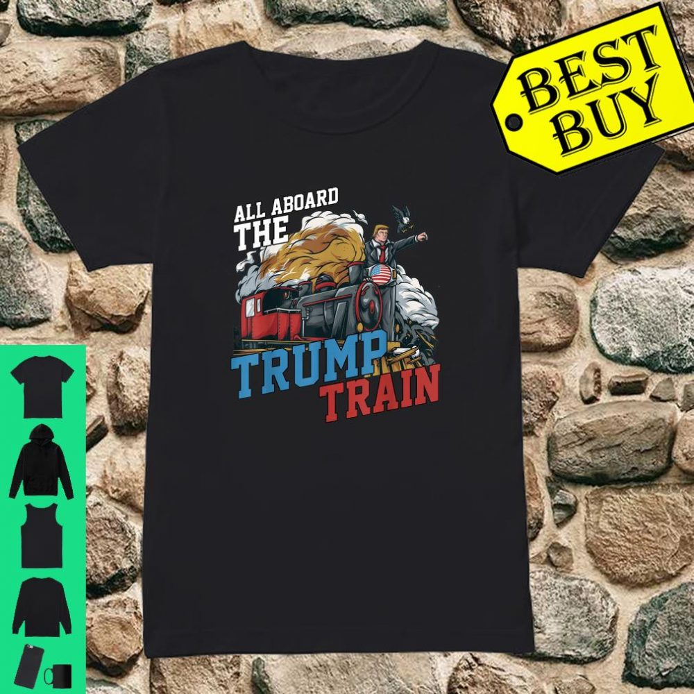 All Aboard the Trump Train American USA Flag shirt ladies tee