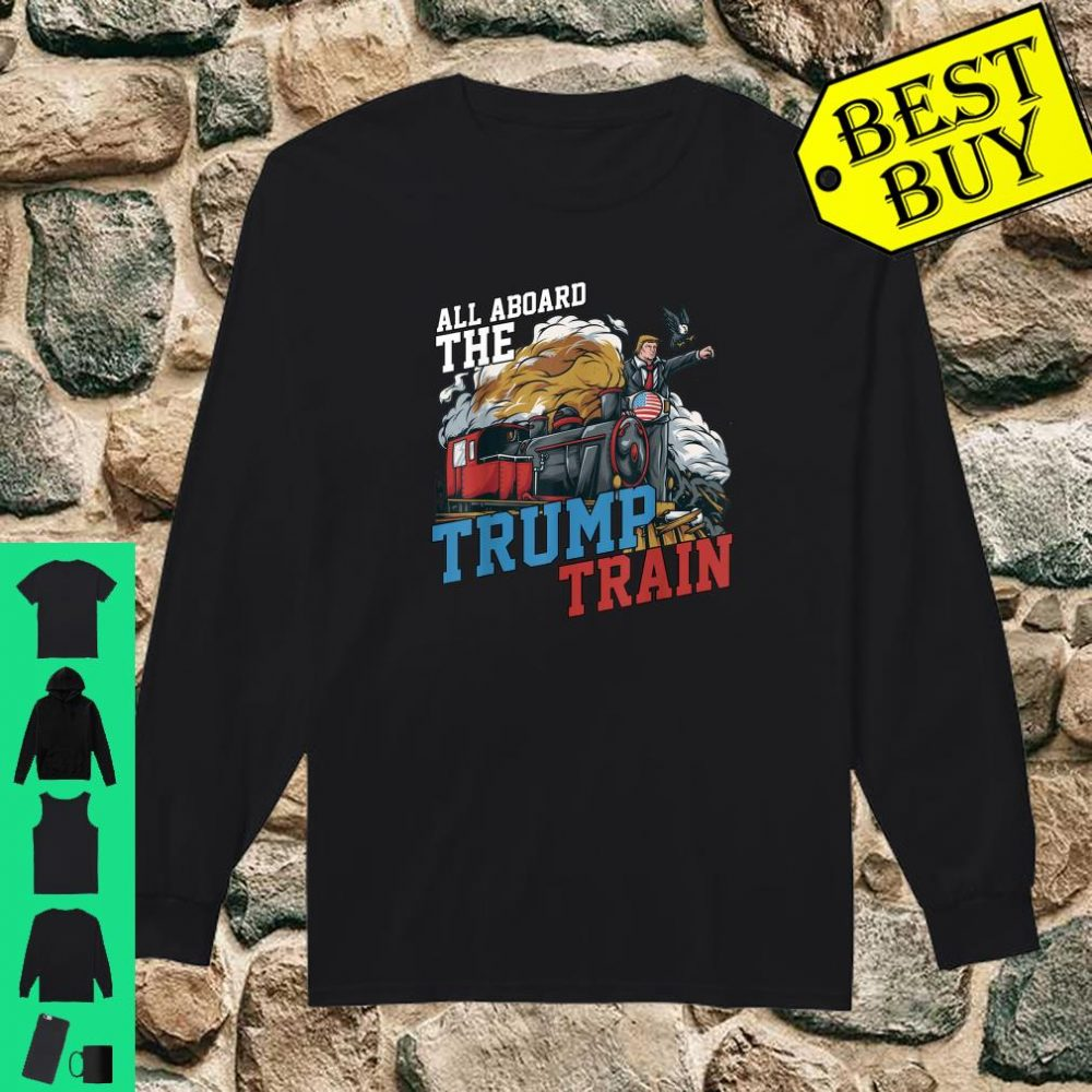 All Aboard the Trump Train American USA Flag shirt long sleeved