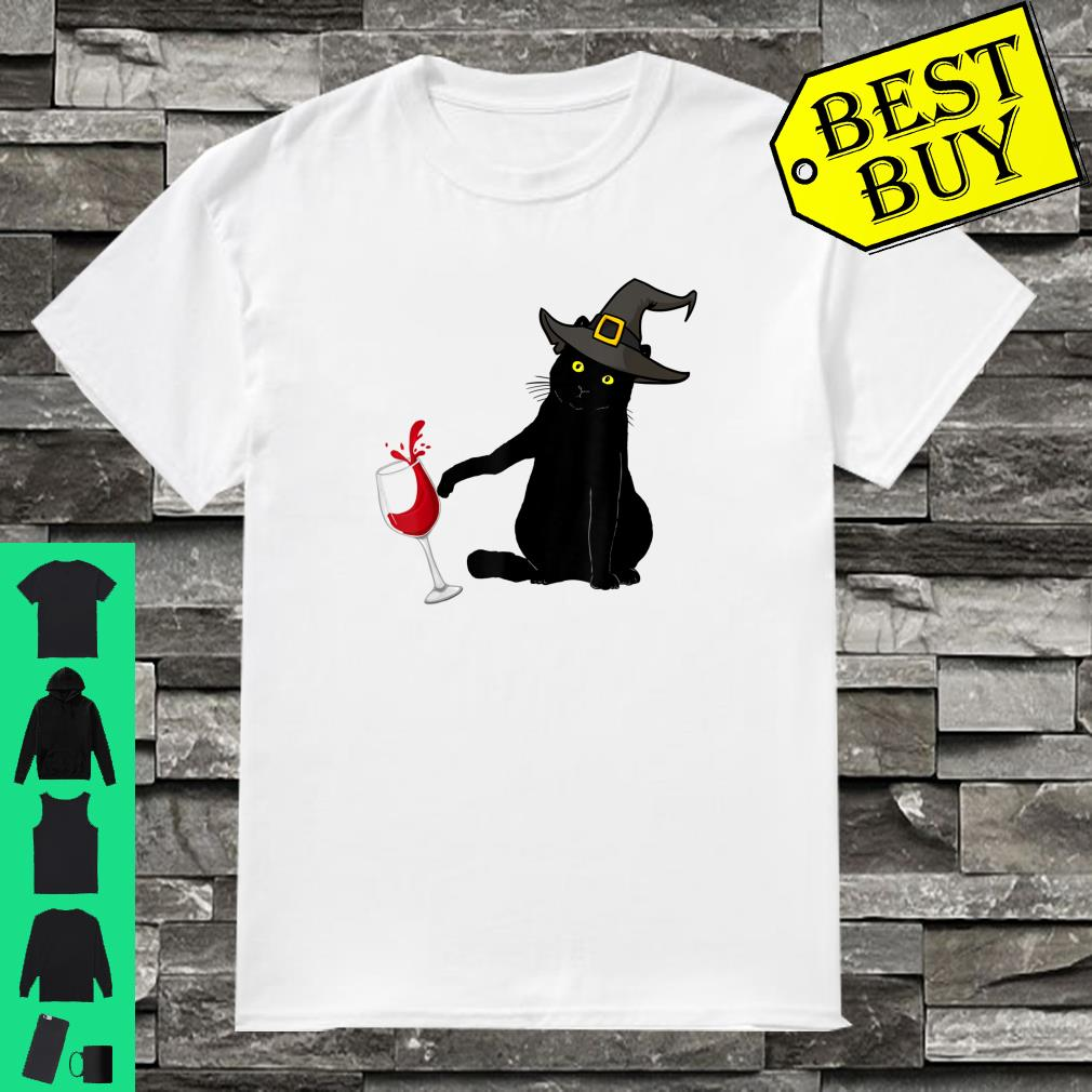 Black Cat With Witch Hat Spilling Wine Halloween shirt