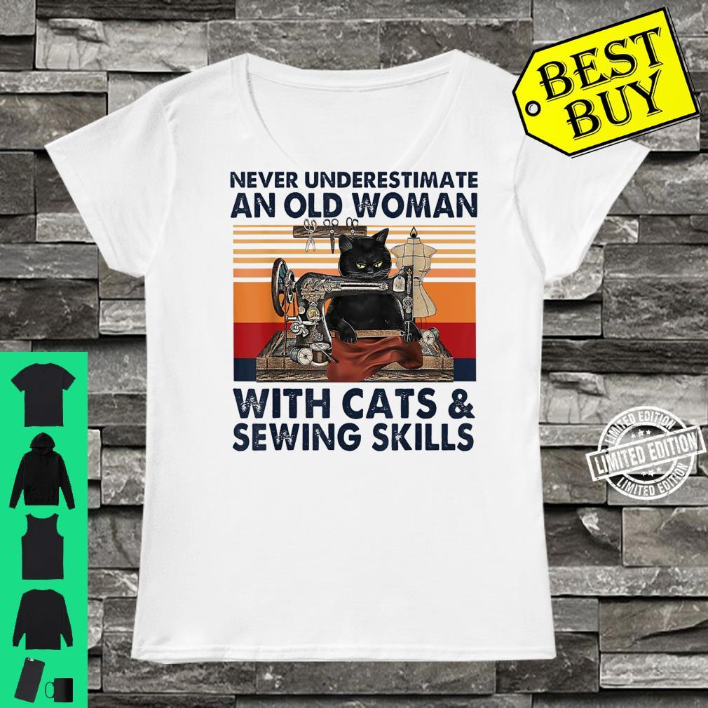 Never Underestimate An Old With Cats And Sewing Skills Shirt ladies tee
