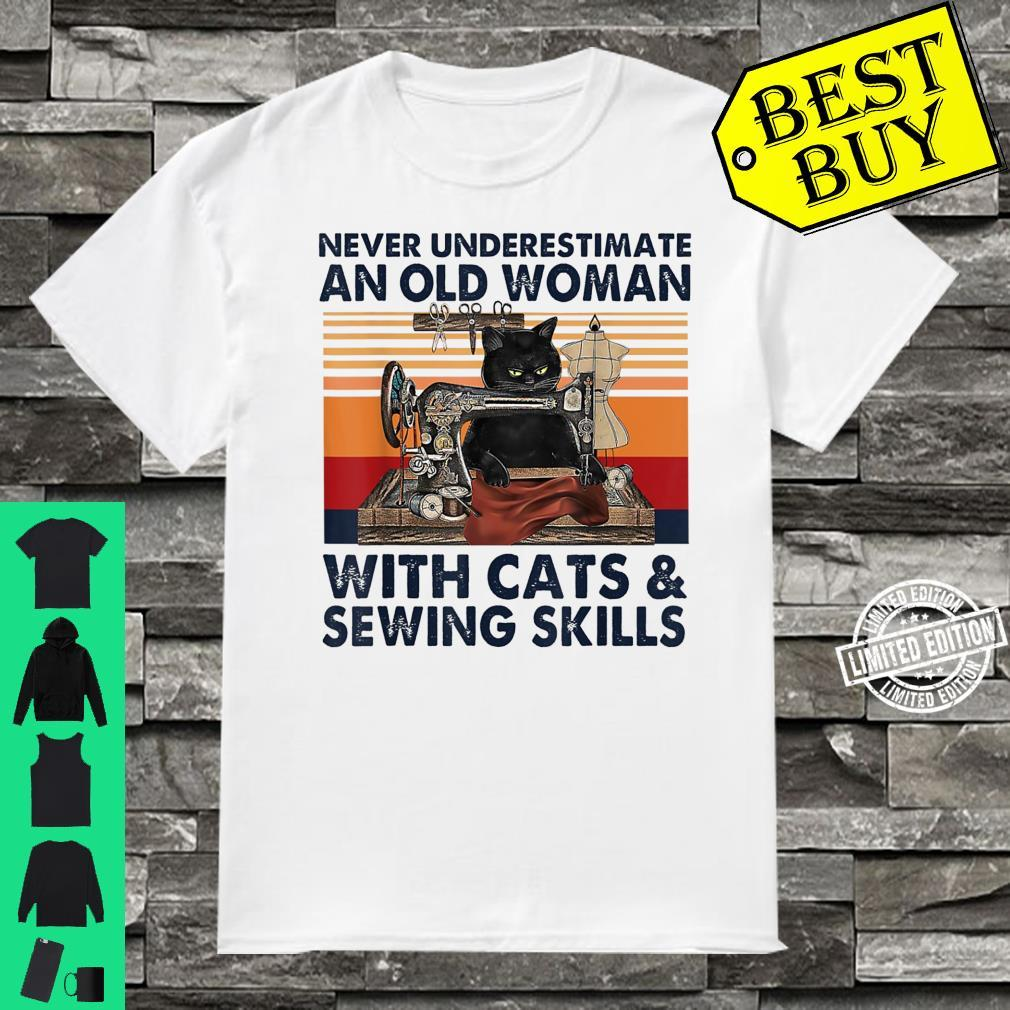 Never Underestimate An Old With Cats And Sewing Skills Shirt