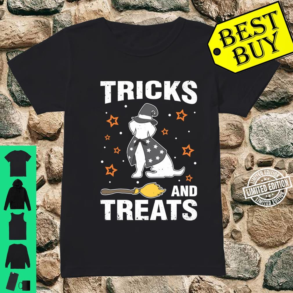 Treats & Tricks Beagle Halloween Costume Witch Shirt ladies tee