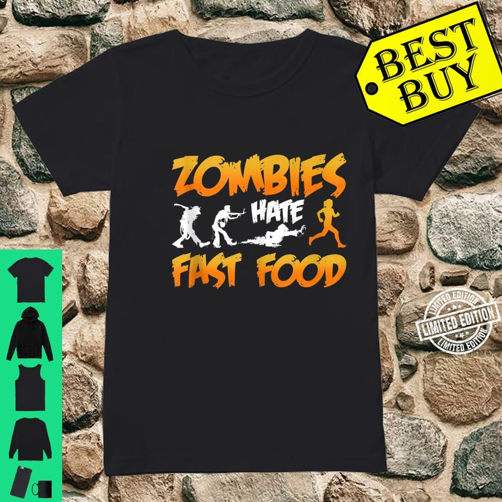 Zombies Hate Fast Food Funny Halloween Running Shirt ladies tee