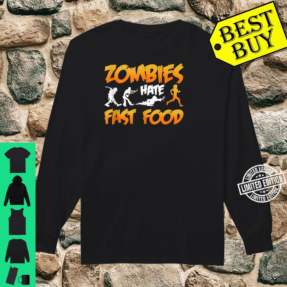 Zombies Hate Fast Food Funny Halloween Running Shirt long sleeved