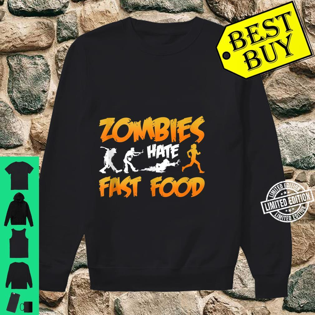 Zombies Hate Fast Food Funny Halloween Running Shirt sweater