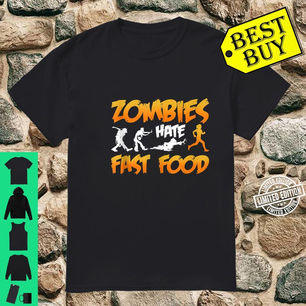 Zombies Hate Fast Food Funny Halloween Running Shirt